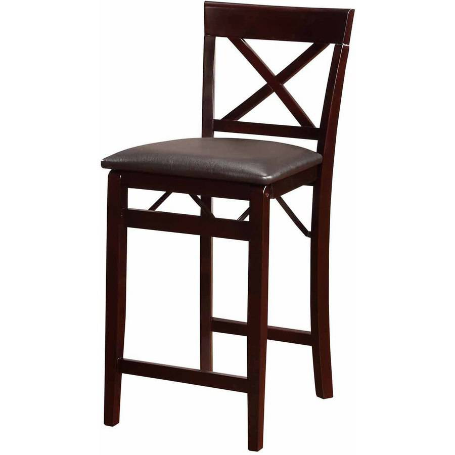 Linon Triena X Back Folding Counter Stool Espresso 24