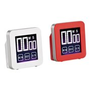 Cook N Home 2 Piece Touch Screen Kitchen Timer, Red and White