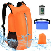 Vbiger Outdoor Sports Waterproof Dry Bags Backpack 20L Top Seal Dry Sacks with Bag Cellphone Bag Waist Bag for Beach Drifting Trekking Swimming Traveling Hiking, Orange