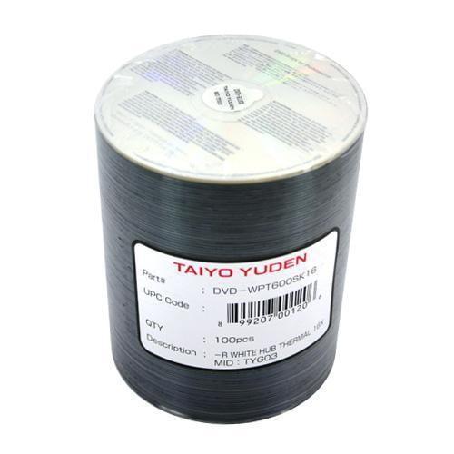 100 JVC Taiyo Yuden 16X DVD-R 4.7GB White Thermal Printable
