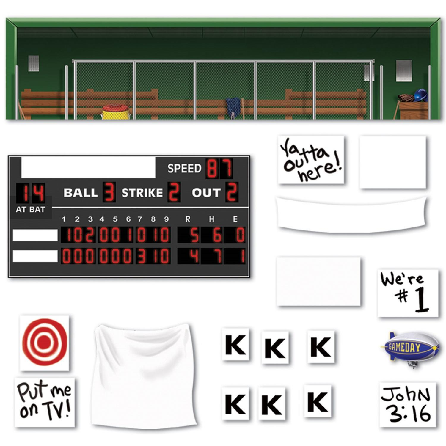 Club Pack of 216 Baseball Scoreboard, Sign and Dugout Sports Themed Party Wall Decorations 5.25'