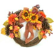 Yellow Mixed Sunflower Harvest Half Wreath Fall Harvest Halloween Decoration