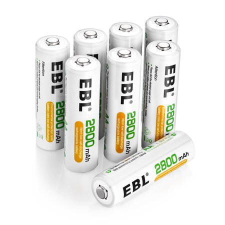 EBL 8-Pack 1.2v AA 2A Battery 2800mAh Ni-MH Replacement Rechargeable