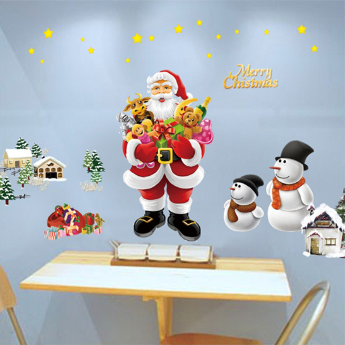 PVC Christmas Removable Santa Claus Reindeer Window Wall Sticker Christmas Home Decor Wall Mural Decals 'Merry Christmas'' Wall Hanging Decor