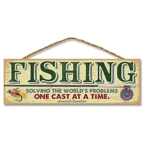 Ideaman S515-002 5 x 15 inch Wooden Sign, Fishing Solving The Worlds Problems