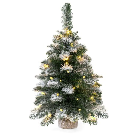 Best Choice Products 24in Cordless Indoor Pre-Lit Snow Flocked Tabletop Christmas Tree Festive Holiday Decor w/ 30 LED Warm White Lights, Hidden Battery Pack, 6 Hour Timer - Green/White