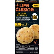 LIFE CUISINE LOW CARB LIFESTYLE Uncured Turkey Bacon & Aged White Cheddar Egg Bites, Frozen Meal