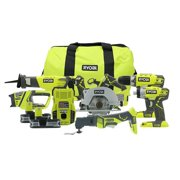 Ryobi 18-Volt ONE+ Cordless Lithium Ion 6-Tool Combo Kit with (2) 1.5 Ah Batteries, Charger, and Bag (New Open Box)