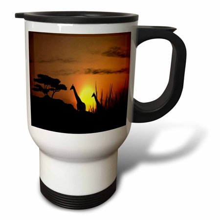 3dRose Pair Of Giraffes In The African Sunset.jpg, Travel Mug, 14oz ...