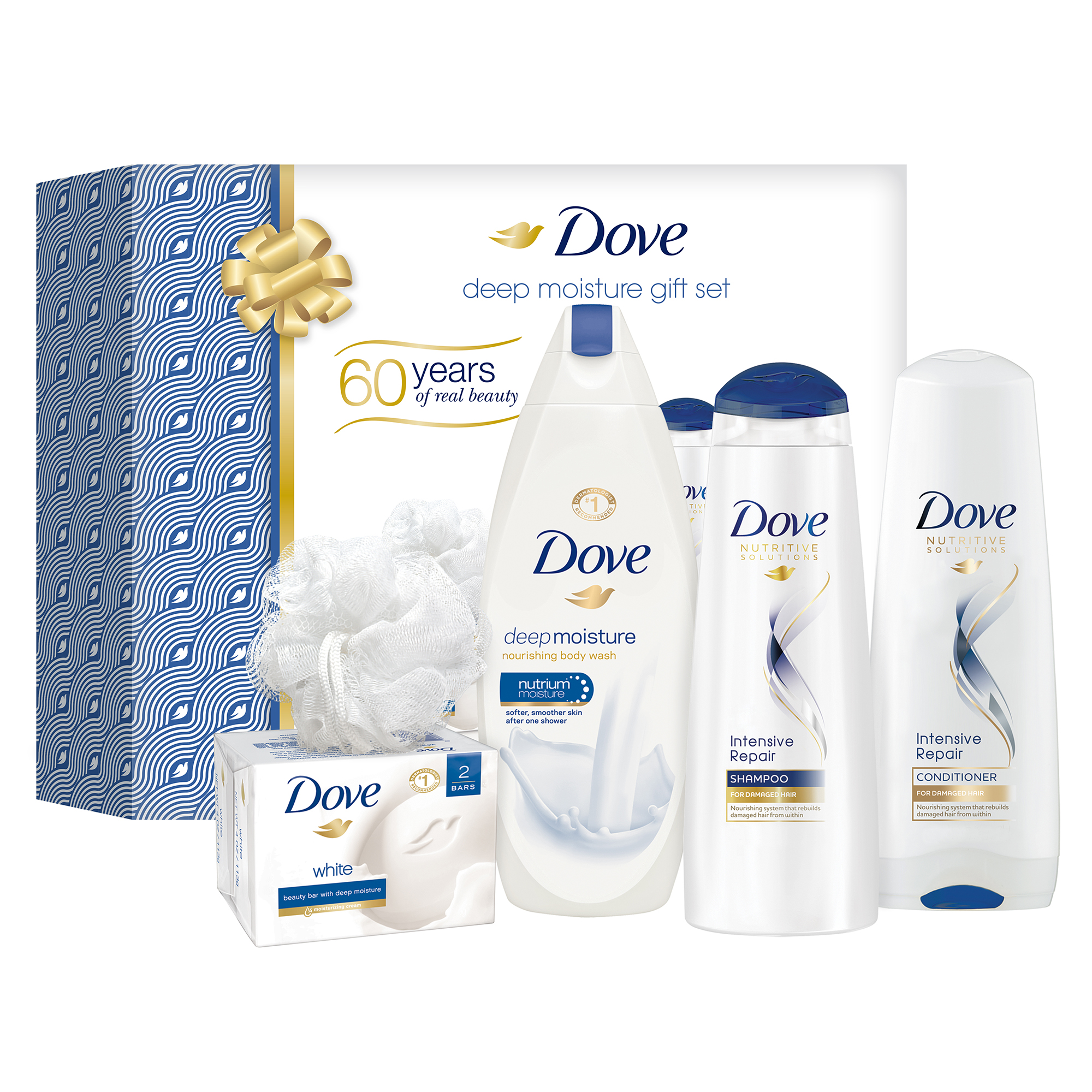 Dove Deep Moisture Holiday Gift Box ( Beauty Bar / Body Wash / Shampoo / Conditioner / Shower Puff), 5 Pieces