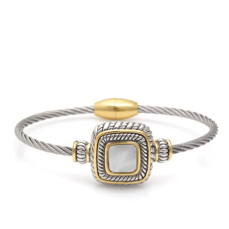 TAZZA WOMEN'S TWO TONE MOTHER OF PEARL TWISTED ROPE BRACELET Bulova Mother Of Pearl Bracelet