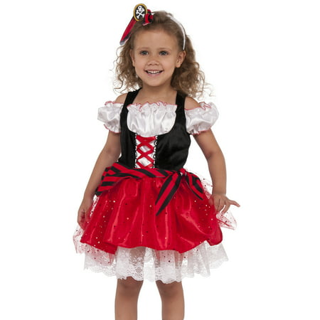 Sweet Pirate Girl Child Buccaneer Ship Sailor Halloween Costume-M (Childrens Sailor Suits)