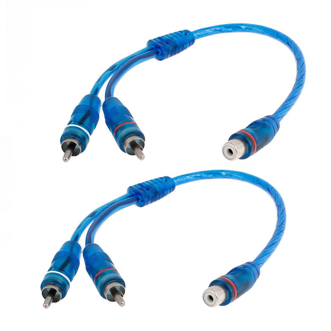 2pcs Female RCA Plug to 2 Male RCA Jacks Y Shaped Adapter Splitter Cable Blue