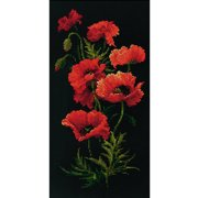 """Poppies Counted Cross Stitch Kit, 9.75"""" x 19.75"""", 10-Count"""