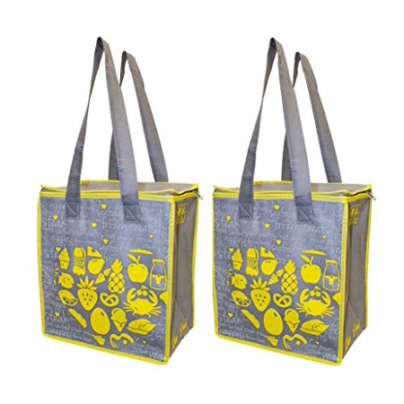 70fb41d517bc Earthwise Large Insulated Reusable Grocery Bag Shopping Hot Cold Thermal  Cooler w/zipper closure (Set of 2)