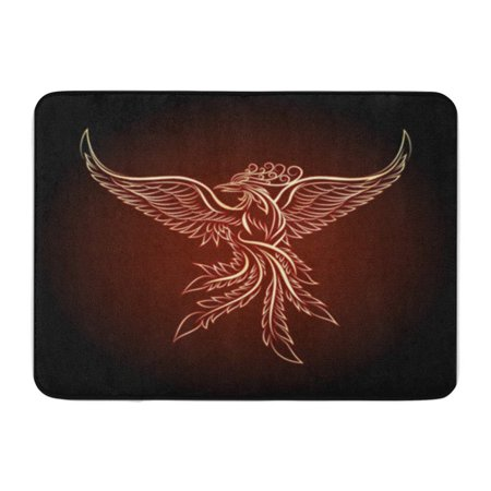 Phoenix Bird Tattoo (LADDKE Red Bird Phoenix Emblem Drawn in Tattoo Orange Fire Doormat Floor Rug Bath Mat 23.6x15.7)