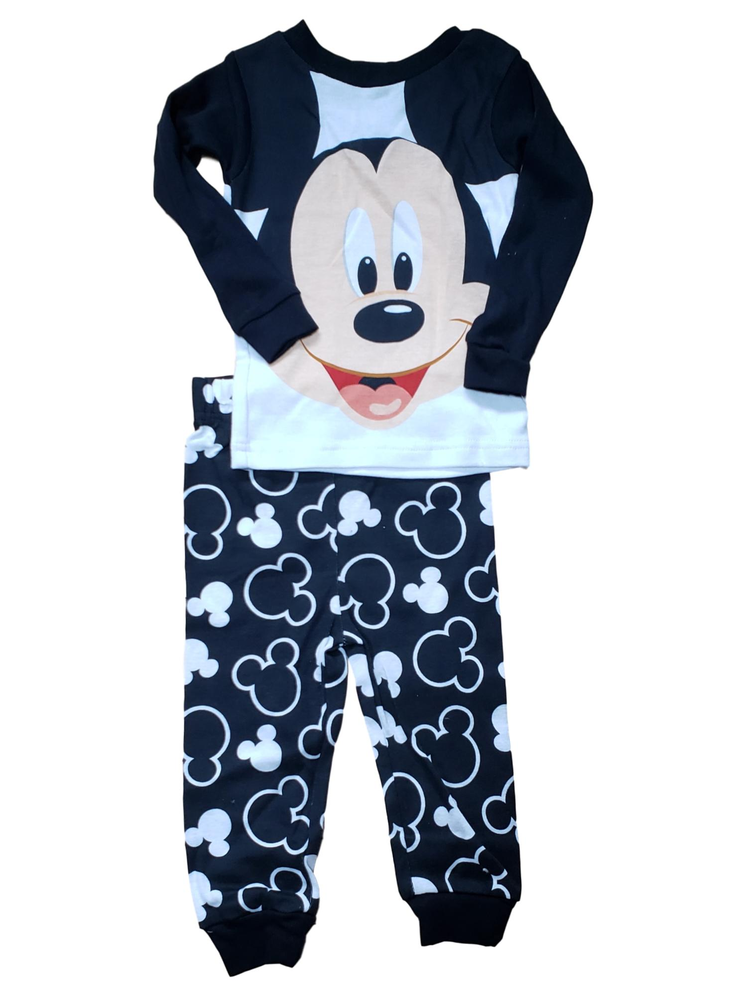 Mickey Mouse Toddler 2 Piece Disney Pajama Set For Kids Black and White