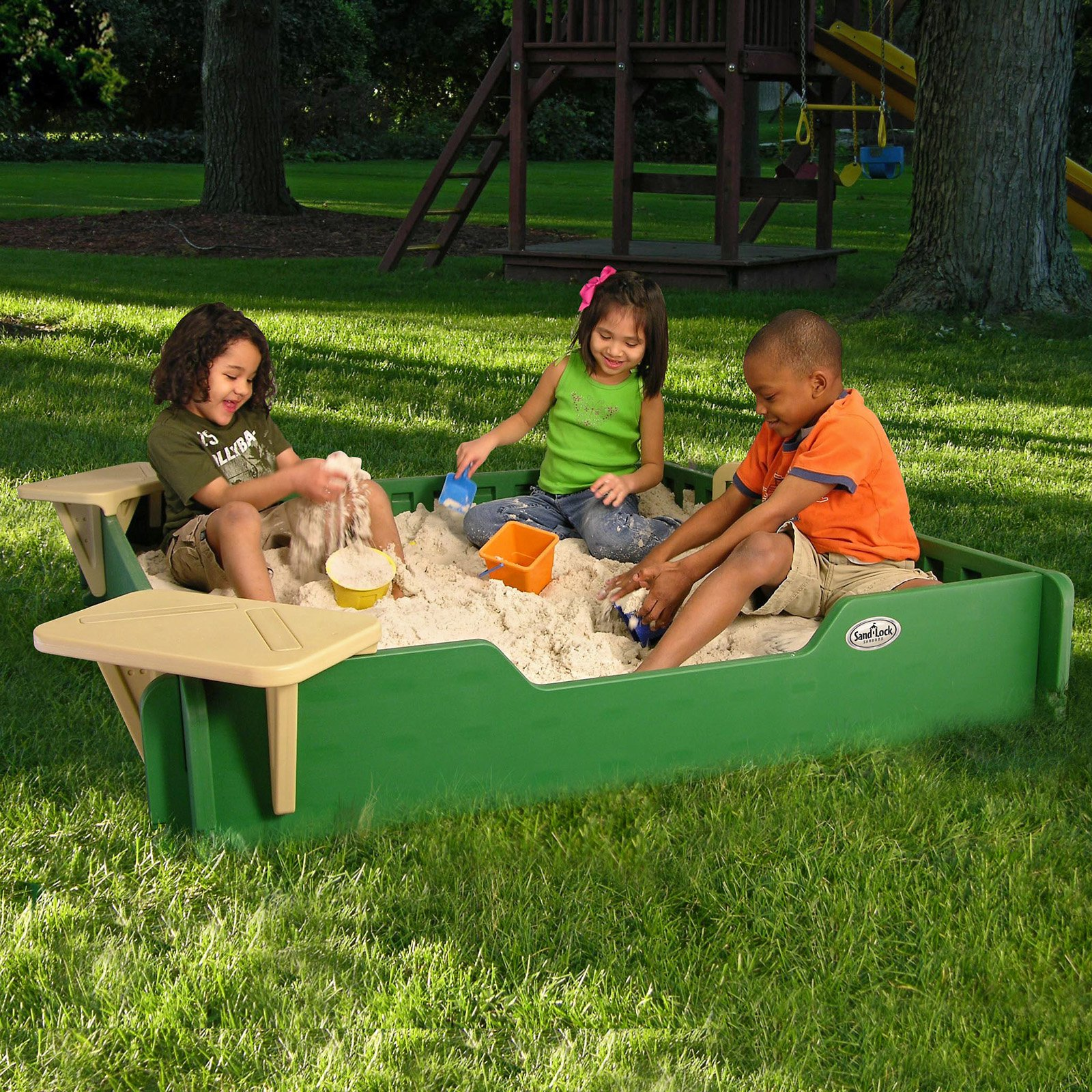 Sandlock 5 x 5-ft. Sandbox with Cover by Sandlock Sandbox LLC