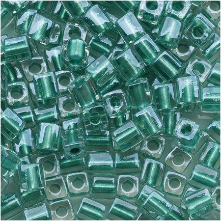 4 Mm Cube Glass (Miyuki 4mm Glass Cube Beads Metallic Teal Lined Crystal #2605 10)