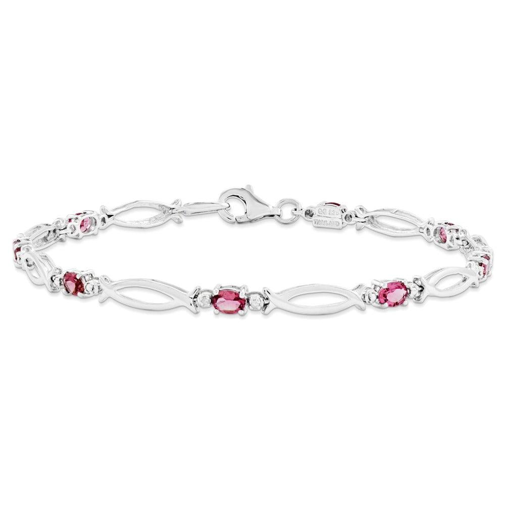 Sterling Silver Pink Tourmaline and Diamond Bracelet by