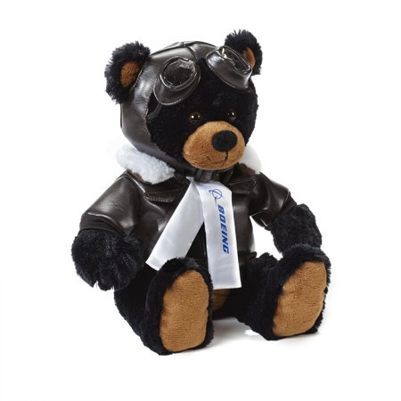 Large Black Aviator Bear, This adorable pilot is ready for take off! He's a soft and cuddly black bear suited up in brown aviator jacket and hat with goggles, like.., By Boeing](Aviator Goggles And Hat)