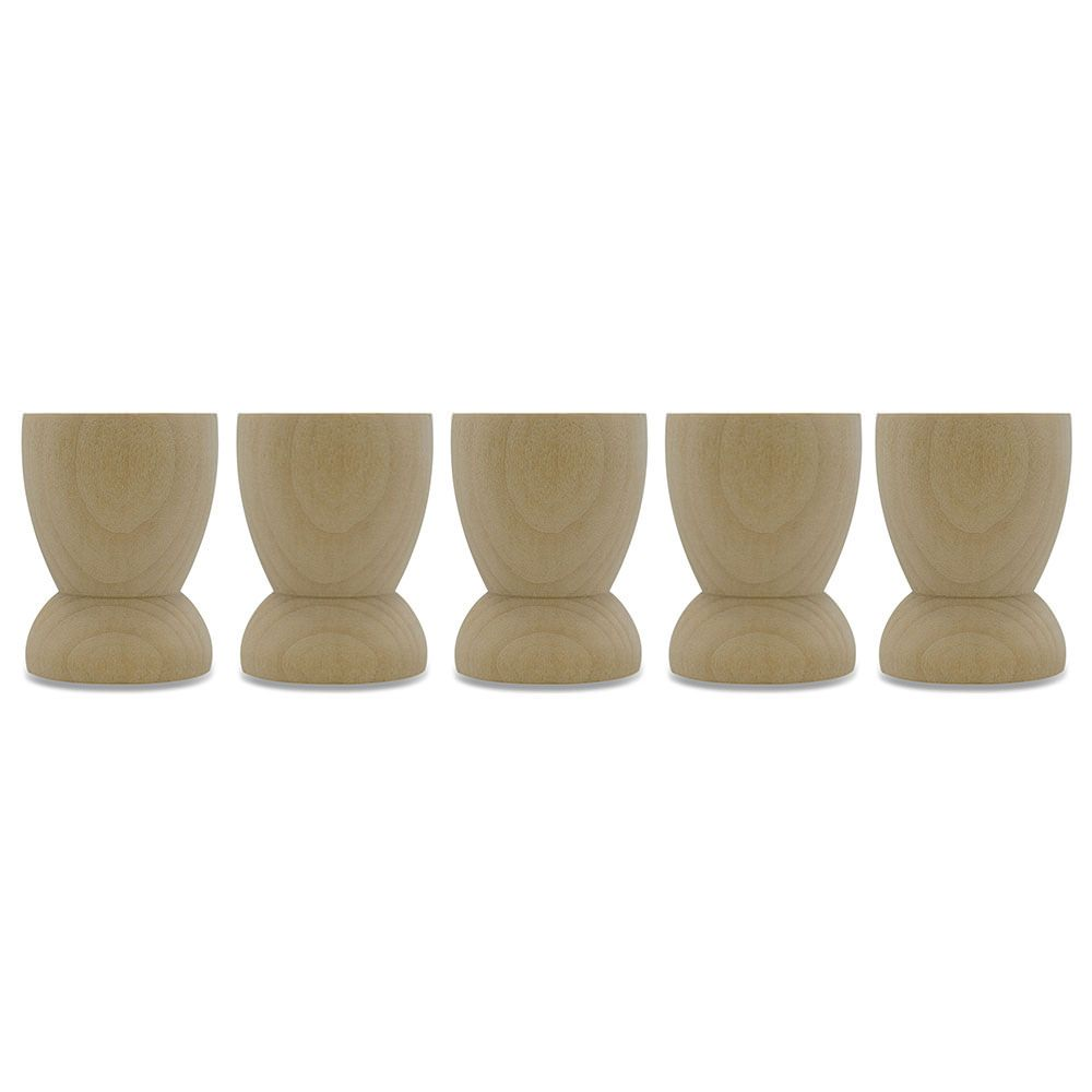 "2.15"" Set of 5 Classic Wooden Egg Cup Holder Display Stands by BestPysanky"