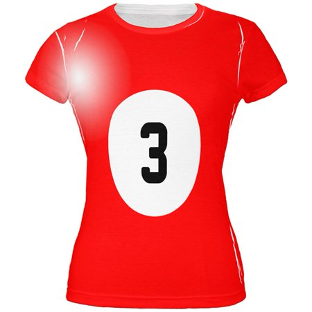 Halloween Billiard Pool Ball Three Costume Juniors T Shirt (Halloween Pool Dye)