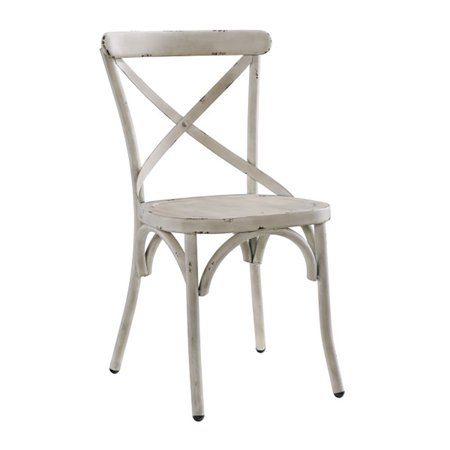 Accentrics Home Distressed Metal Antique X-Back Dining Room Kitchen Chair,  White