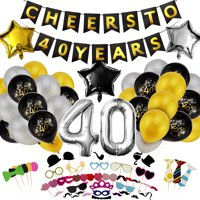 40th Birthday Decorations, Happy Wedding Anniversary for Men and Women, Cheers to 40 Years Party Banner, Photo Booth Props Hat, Over The Hill Supplies Black, Gold, Gray, Silver Accessories (98PCS)