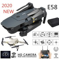 2020 New E58 WIFI FPV Folding Drone with Wide Angle HD Camera High Hold Mode Foldable Arm RC Quadcopter Drone with Storage Bag