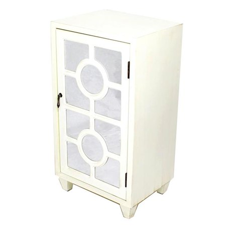 Hampton 1-Door Accent Cabinet with Lattice Mirror Inserts - Antique White