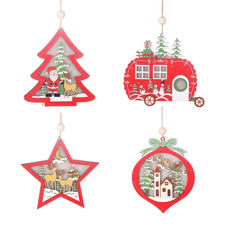 4 Types Decoration In 1 Bag Delicate Christmas Decoration Wooden Hollowed-Out Pendant With Light ()