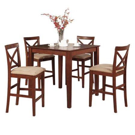 Counter Height Gathering Table Sets : Brown Gathering Table and 4 Counter Height Chairs 5-piece Dining Set ...