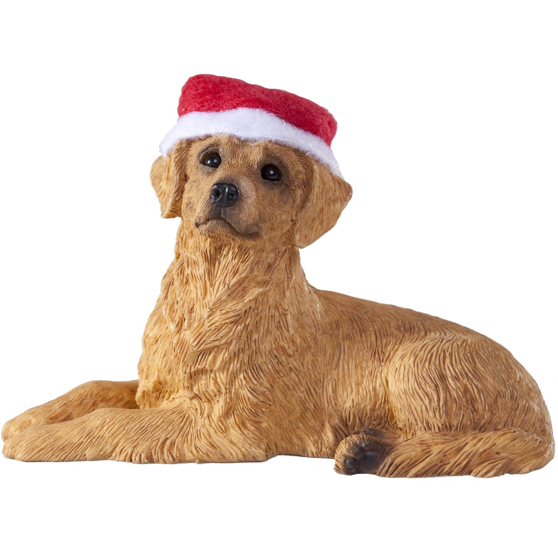 Sandicast Lying Golden Retriever with Santa's Hat Christmas Dog Ornament