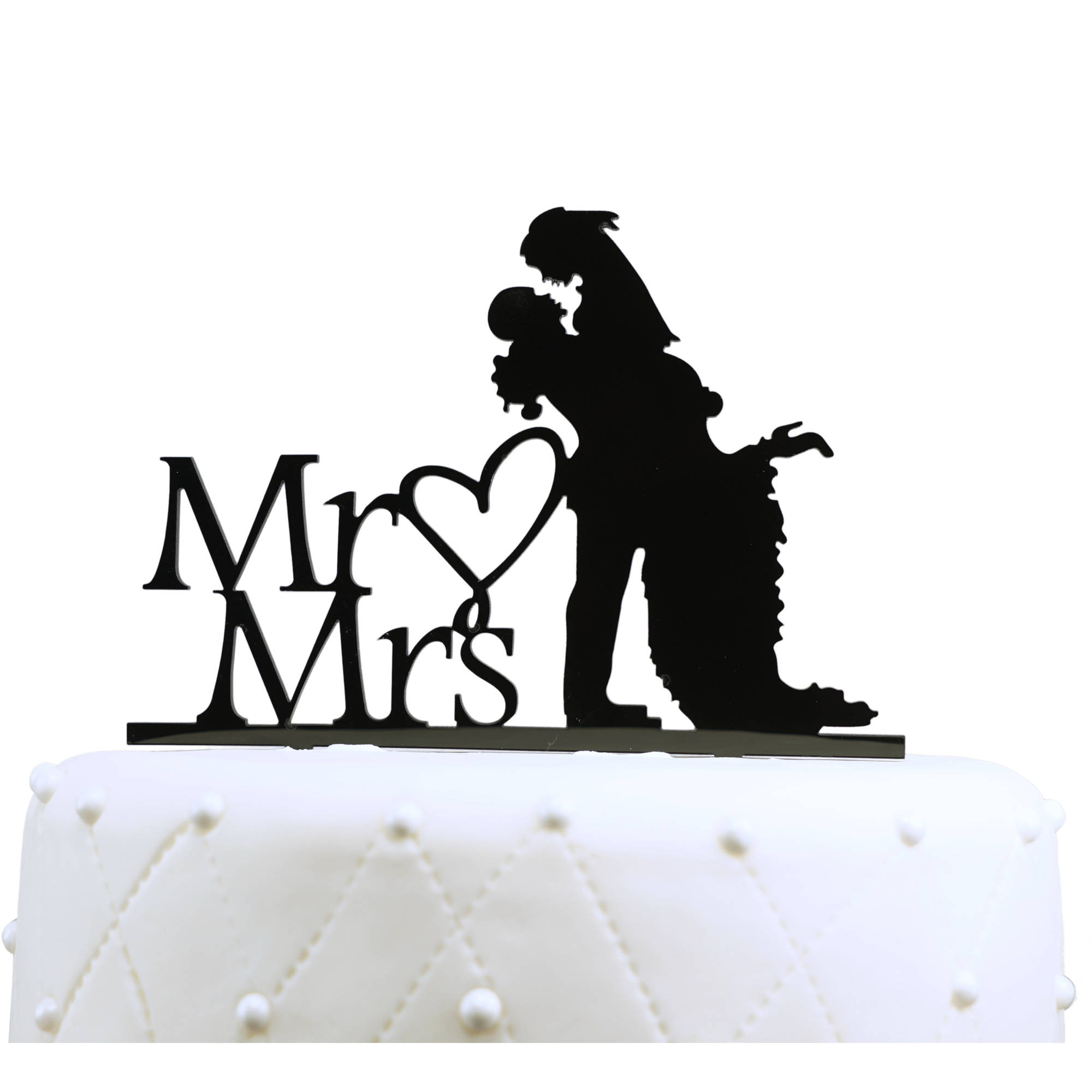 "Unik Occasions ""Mr. and Mrs."" Silhouette Acrylic Cake Topper"