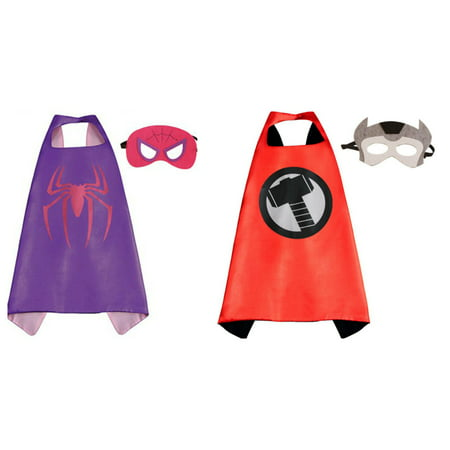 Thor & Spidergirl Costumes - 2 Capes, 2 Masks with Gift Box by Superheroes