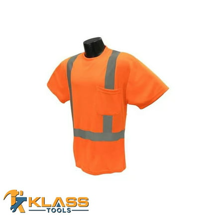 Orange Class II T-Shirtwith Silver Reflector Stripes (Size: - Mens Reflector