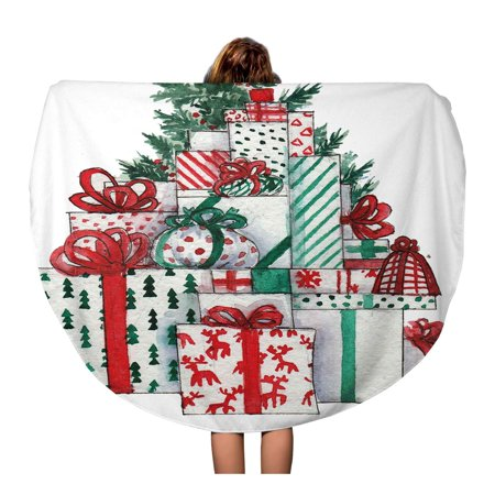 KDAGR 60 inch Round Beach Towel Blanket Green Clip Watercolor Christmas Tree Boxes Red Drawing Drawn Travel Circle Circular Towels Mat Tapestry Beach - Watercolor Travel Box