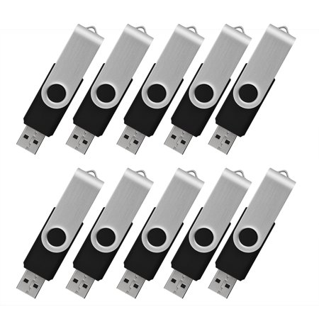 - KOOTION 10 Pack 2GB USB Flash Drive Memory Stick Fold Storage Thumb Pen Drive Swivel, Black