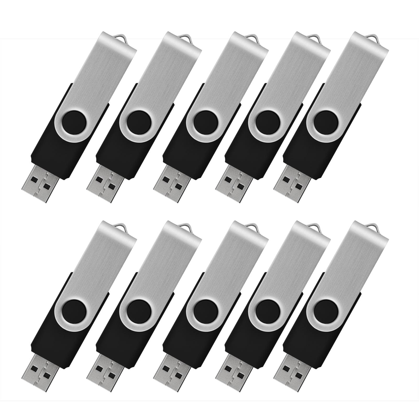 KOOTION 10 Pack 2GB USB Flash Drive Memory Stick Fold Storage Thumb Pen Drive Swivel, Black