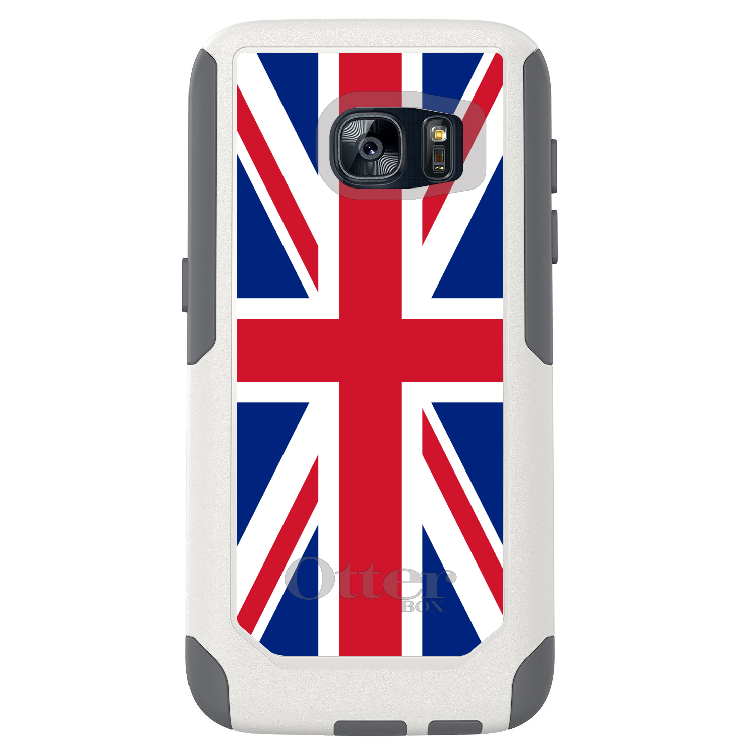 DistinctInk™ Custom White OtterBox Commuter Series Case for Samsung Galaxy S7 - Red White Blue British Flag UK
