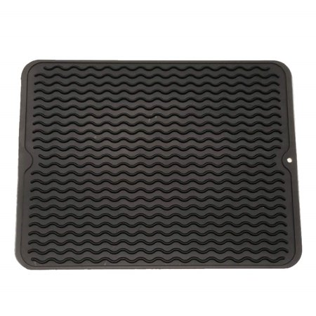 Mat Kitchen Counter - Silicone Dish Drying Mat Easy Clean Dishwasher Safe Heat Resistant Eco-Friendly Trivet Black Large - 15.8