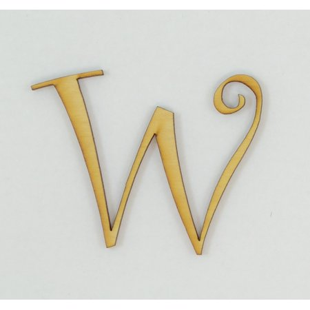 1 Pc, 5 Inch X 1/8 Inch Thick Wood Letters W In The Curlz Font Great For Craft Project & Different Decor ()