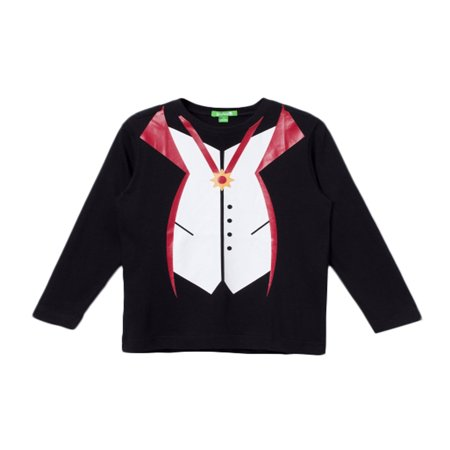 bossini Carnival Season Spree Round Neck Vampire-Themed Print Long Sleeve Kids Easygoing T Shirt Size 100,US Size 4T