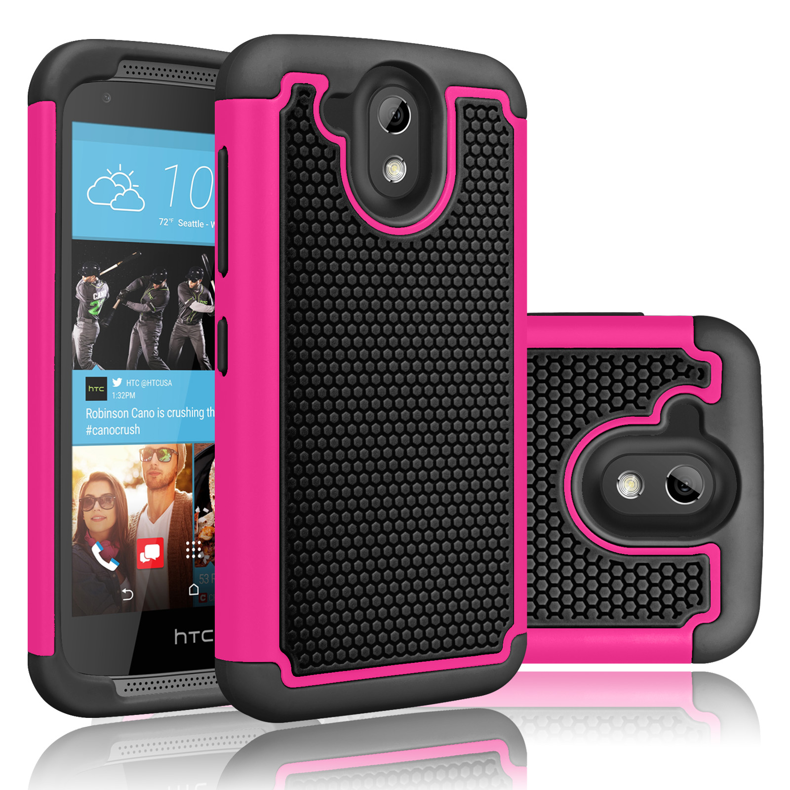 HTC Desire 526 Case, Tekcoo(TM) [Tmajor Series] Shock Absorbing Hybrid Rubber Plastic Impact Defender Rugged Slim Hard Protective Case Cover Shell For HTC Desire 526 4G LTE Verizon