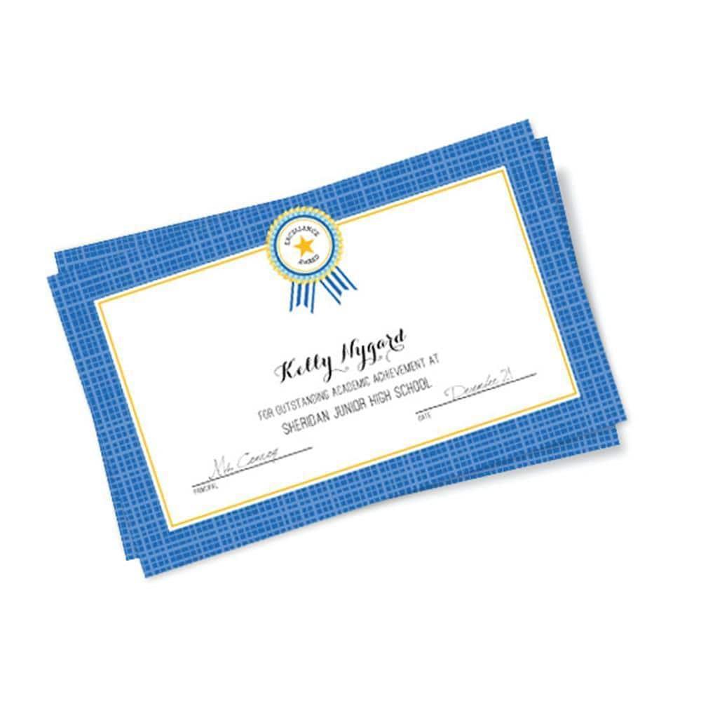 Gartner Studios Cardstock Blue Plaid-border 8-inch x 5-inch Excellence Certificates (Pack of 10)