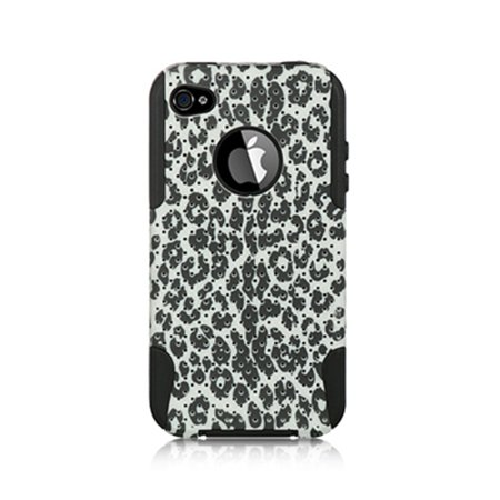 Insten Leopard Hybrid Dual Layer Hard Plastic / TPU Shockproof Case Cover  For Apple iPhone 4 / 4S - Black/White 4s White Hard Case