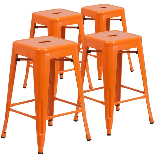 "Flash Furniture 24"" High Backless Metal Indoor-Outdoor Counter Height Stool with Square Seat, 4 Pack, Multiple Colors"