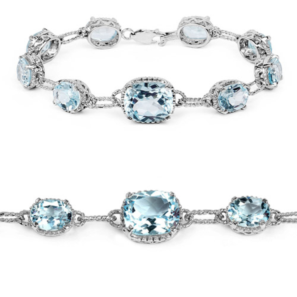 Genuine Cushion Blue Topaz Bracelet in Sterling Silver by Bonyak Jewelry