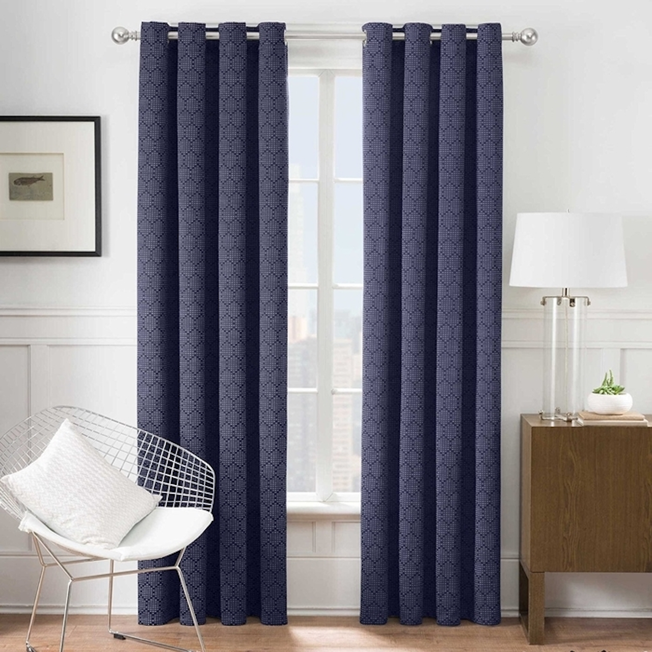 "Times Square® 63"" L, 1 Grommet Window Curtain Panel - Navy - image 1 of 1"